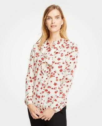 Ann Taylor Petite Romantic Flower Ruffle Blouse