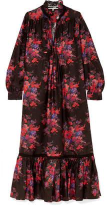 McQ Lace-trimmed Floral-print Silk Maxi Dress - Black