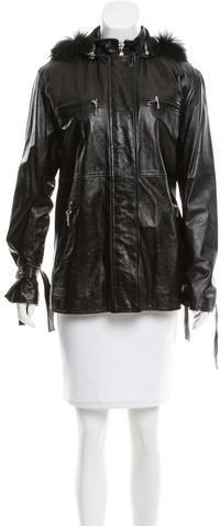 Alberta FerrettiPhilosophy di Alberta Ferretti Fur-Trimmed Leather Jacket