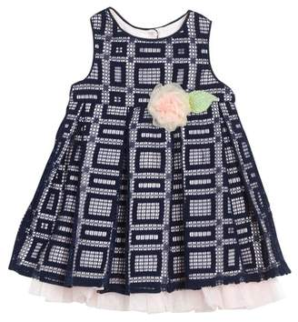 Pippa & Julie Sleeveless Front Tacked-On Bow Pleated Dress (Baby Girls 0-9M)