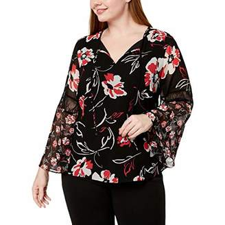 Calvin Klein Women's Plus Size Printed Bell Sleeve Blouse with LACE