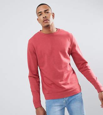 Asos DESIGN tall sweatshirt in red overdyed marl