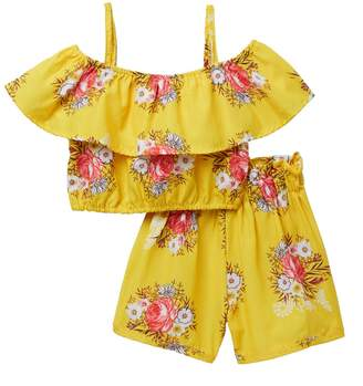 Funkyberry Floral Ruffle 2-Piece Set (Toddler & Little Girls)