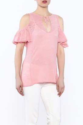 Minnie Rose Pink Cold-Shoulder Top $101 thestylecure.com