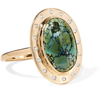 Melissa Joy Manning 14-karat Gold, Turquoise And Diamond Ring