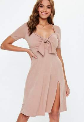 Missguided Blush Tie Front Midi Dress