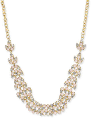 "INC International Concepts I.n.c. Pave & Stone Leaf Statement Necklace, 18"" + 3"" extender"