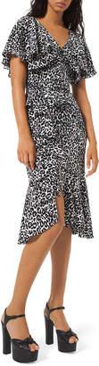 Michael Kors Leopard-Print Cape-Sleeve Dress