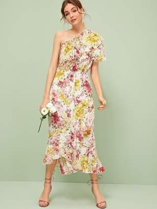 Shein One Shoulder Flounce Trim Dress With Wrap Skirt