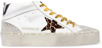 Golden Goose Hi Mid-star Distressed Leather, Suede And Leopard-print Calf Hair Sneakers