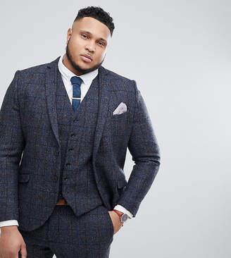 Heart & Dagger Plus Size Slim Suit Jacket In Harris Tweed In Check
