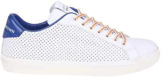 Leather Crown Sneakers In White Perforated Leather