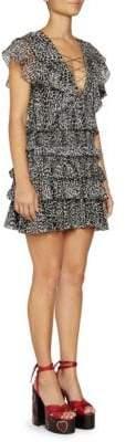 Saint Laurent Women's Silk Georgette Mini Leopard Print Ruffle Dress - Black Grey - Size 34 (2)