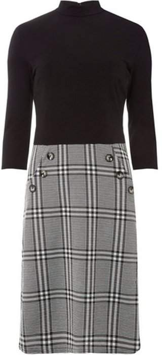 Womens **Tall Grey and Black Checked 2-In-1 Dress
