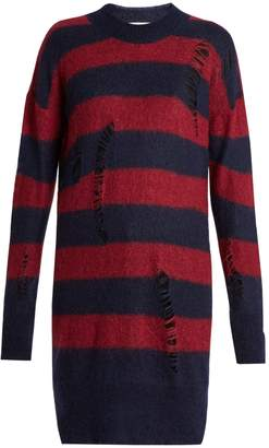 Stella McCartney Distressed striped mohair and wool-blend sweater