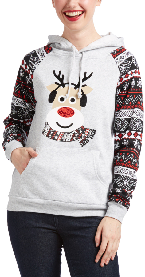 Gray & Red Reindeer Graphic Hoodie