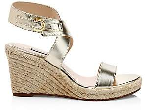 Stuart Weitzman Women's Lexia Metallic Leather Wedge Sandals