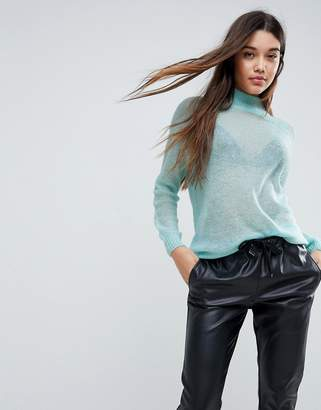 Asos Sweater in Sheer Knit with Funnel Neck