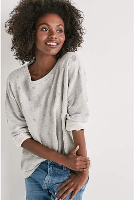 Lucky Brand DISTRESSED POLKA DOT PULLOVER