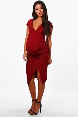 boohoo Maternity Ella Cap Sleeve Wrap Midi Dress