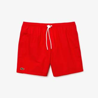 Lacoste Men's Mesh Lined Cotton Blend Swim Trunks