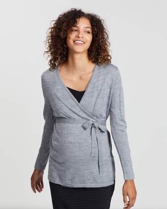 Angel Maternity Maternity Lightweight Wool Wrap Cardigan