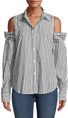 Current/Elliott The Loretta Striped Button-Shoulder Top