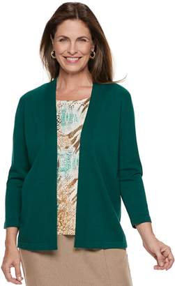 Alfred Dunner Women's Studio Mock-Layer Print Cardigan