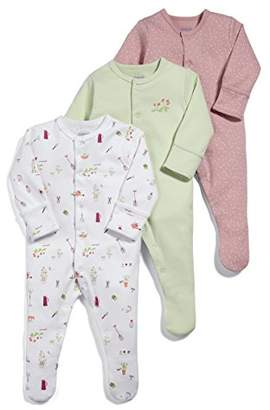 Mamas and Papas Baby Girls' Pack of 3 Garden Sleepsuits Sleepsuits,(Manufacturer Size: New Born) pack of 3
