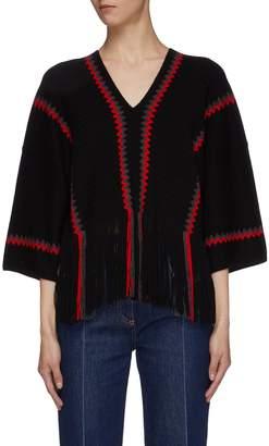 Sonia Rykiel Zig zag stripe fringe hem wool knit top