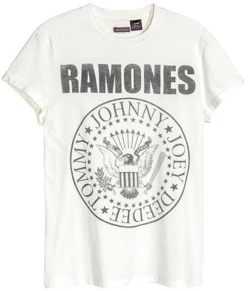 H&M - T-shirt with Printed Motif - White/Ramones - Men