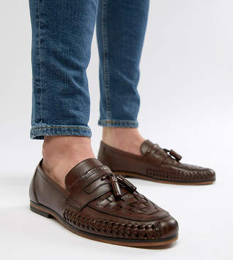 Asos DESIGN Wide Fit Loafers In Woven Tan Leather With Tassel Detail