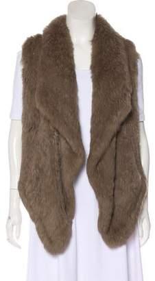 June Drape-Accented Fur Vest