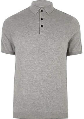 River Island Mens Grey slim fit polo shirt