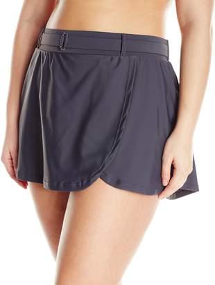 Free Country Women's Plus-Size Skirted Bikini Bottom with Belt