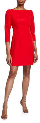 Milly Clara Puff-Sleeve Sustainable Cady Dress