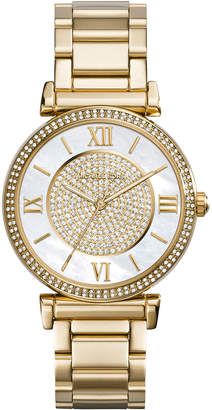 MICHAEL Michael Kors Caitlin Rhinestone Golden Stainless Steel Watch