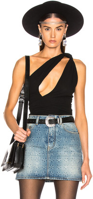 Saint Laurent One Shoulder Bodysuit in Black | FWRD