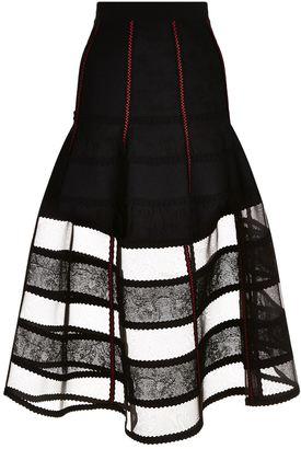 Sheer Hem Midi Skirt