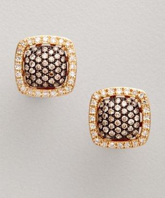 Julieri diamond and yellow gold 'Dot' square studs
