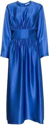 Deitas Hermine gathered silk-satin dress