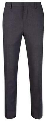 Burton Mens Dark Grey Slim Fit Mini Textured Suit Trousers
