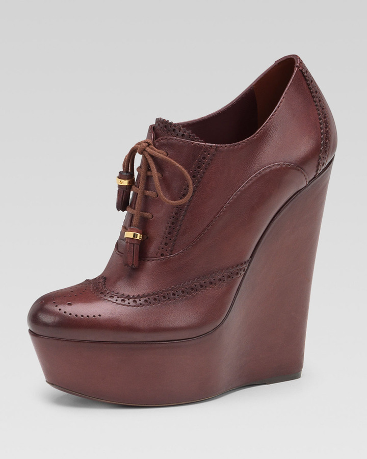 Gucci Lace-Up Wedge Bootie