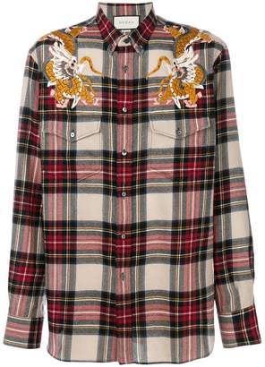 Gucci Dragon check shirt