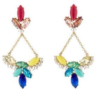 Lulu Frost Multicolor Crystal & Faux Pearl Drop Earrings $75 thestylecure.com