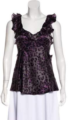 Rebecca Taylor Animal Print Silk Blouse
