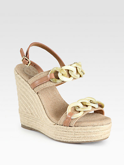 Tory Burch Alta Canvas & Leather Espadrille Wedge Sandals