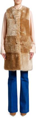 Stella McCartney Oversized Faux Fur Patchwork Vest