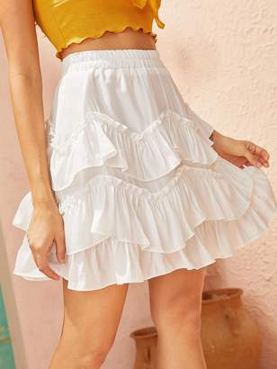 Shein Tiered Layer Ruffle High Waist Skirt
