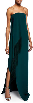 Oscar de la Renta Strapless Fold-Over Fringed Dress w/ Slit